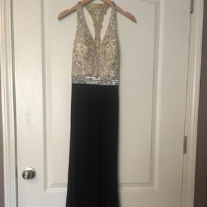 jeweled gold prom dress
